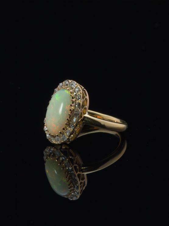 Art Nouveau Opal Diamond Gold Halo Ring