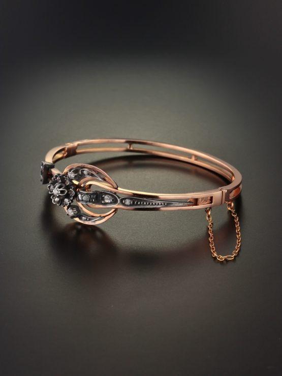 Victorian French Diamond Crescent Moon Bangle Bracelet