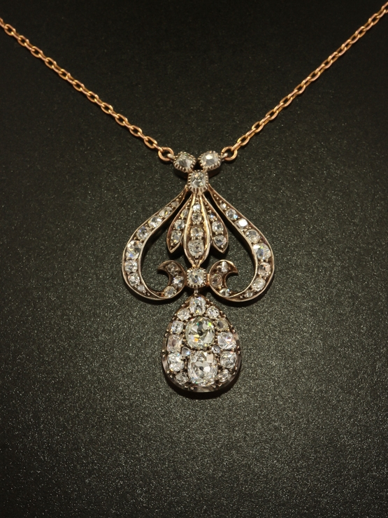 Edwardian 500 ct diamond lavish antique pendant necklace antique lightbox mozeypictures Gallery