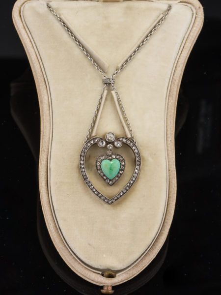 RARE EDWARDIAN TURQUOISE AND DIAMOND LOVE NECKLACE BROOCH FROM KOCH ROYAL JEWELERS