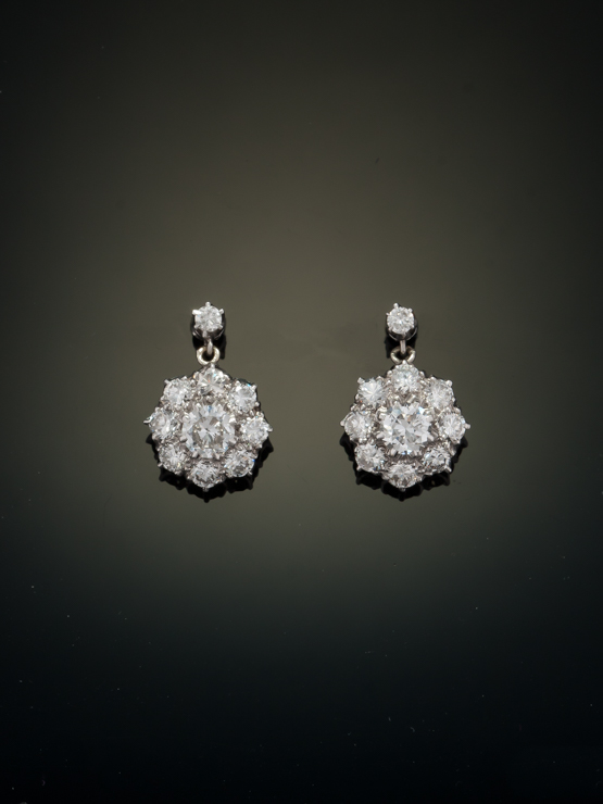 cd10936d3bf17 Details about GENUINE ART DECO 3.29 Ct HIGH QUALITY DIAMOND FLOWER CLUSTER  DROP EARRINGS