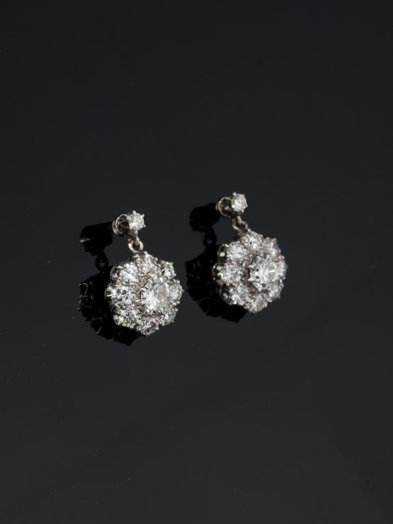770f6aa6364df GENUINE ART DECO 3.29 Ct HIGH QUALITY DIAMOND FLOWER CLUSTER DROP EARRINGS