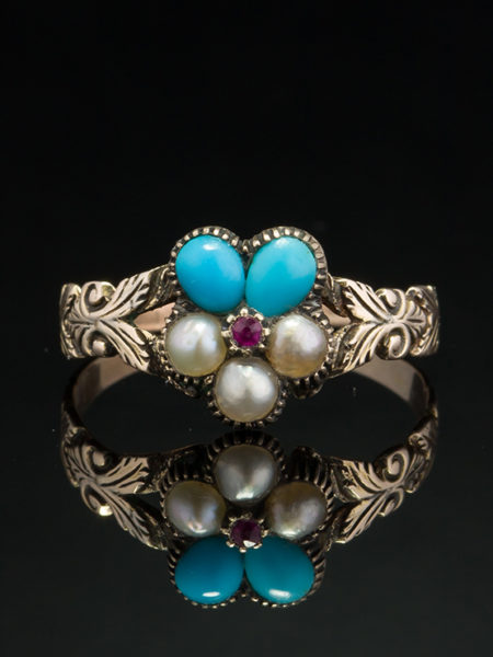 ROMANTIC VICTORIAN NATURAL RUBY PEARL AND TURQUOISE PANSY FLOWER RING