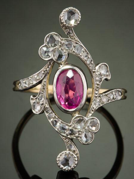 ANTIQUE ART NOUVEAU NATURAL CEYLON PINK SAPPHIRE AND DIAMOND RING WITH CERT