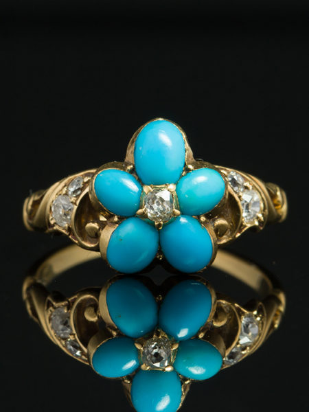 GENUINE VICTORIAN NATURAL TURQUOISE AND DIAMOND PANSY SECRET LOCKET ANTIQUE RING