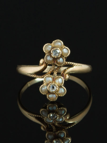( reserved to L T) ART NOUVEAU PEARL AND DIAMOND DAISY FLOWER CLUSTER RING