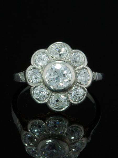 ANTIQUE EDWARDIAN 2.43 Ct DIAMOND FLOWER DAISY CLUSTER RING
