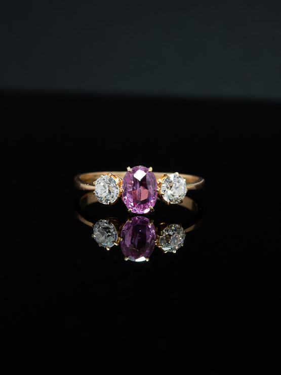 VINTAGE NATURAL PINK SAPPHIRE AND DIAMOND TRILOGY THREE STONE RING