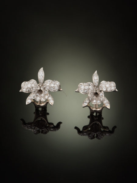 WHITE ART DECO 5.00 Ct DIAMOND AND PLATINUM ORCHID FLOWER EARRINGS