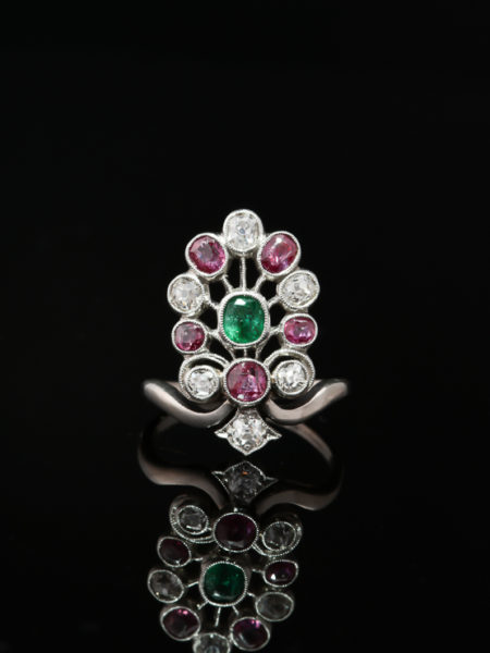 ART DECO NATURAL EMERALD RUBY AND DIAMOND PLATINUM TIARA AIGRETTE RING