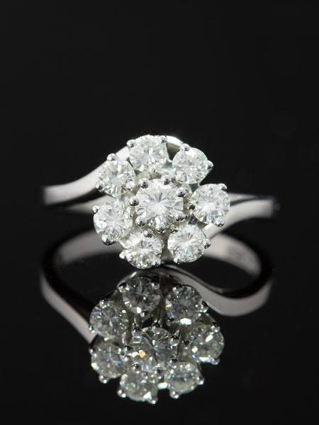 VINTAGE UNIQUE 1.65 Ct DIAMOND FLOWER HALO CLUSTER RING