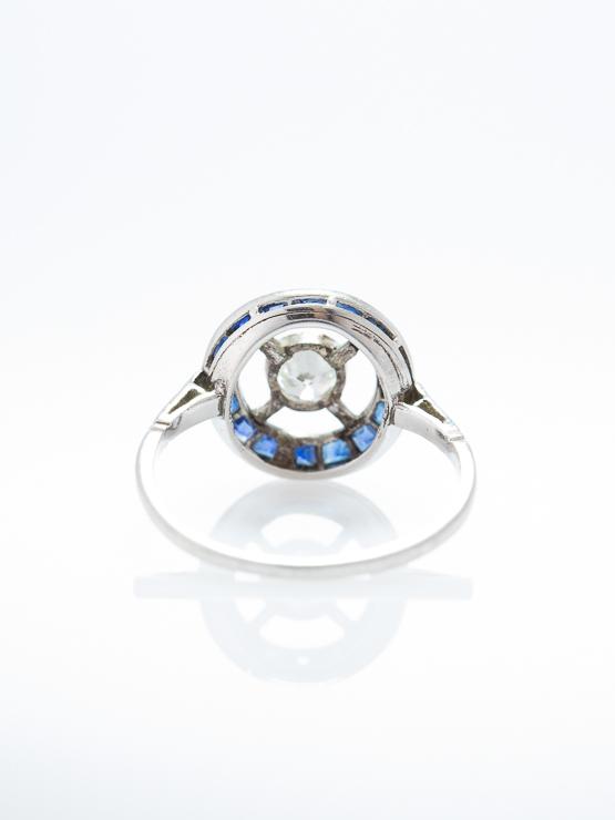 Antique Pure Art Deco Sapphire And Diamond Platinum Target Cluster Halo Ring