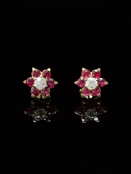 VINTAGE NATURAL RUBY AND DIAMOND LUSH FLOWER CLUSTER EARRINGS