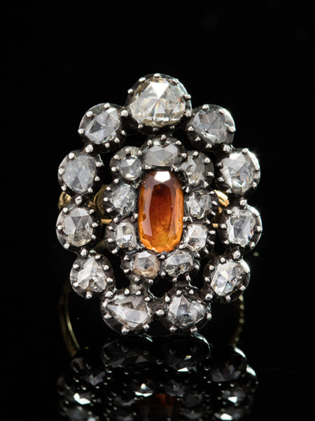 ANTIQUE GEORGIAN IMPERIAL TOPAZ AND DIAMOND DOUBLE HALO CLUSTER FLOWER RING