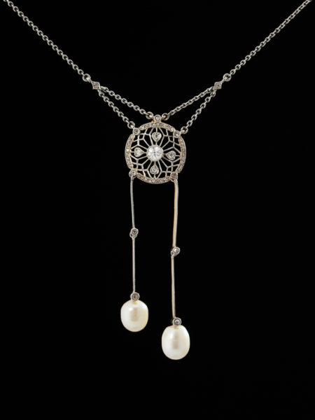 GENUINE ANTIQUE EDWARDIAN DIAMOND AND PEARL SENSUAL NEGLIGEE NECKLACE