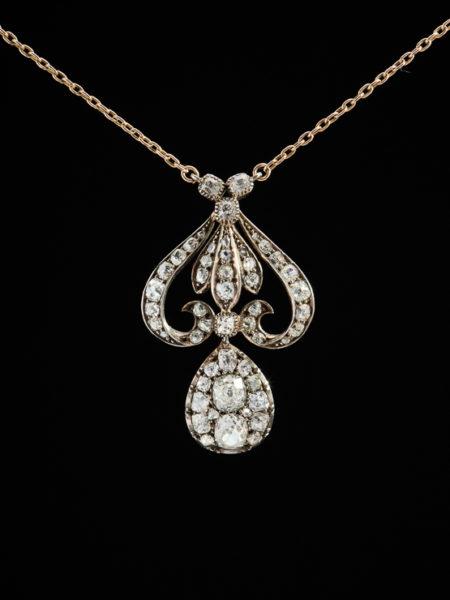 GENUINE RARE ANTIQUE VICTORIAN RARE 5.17 Ct DIAMOND ELEGANT NECKLACE