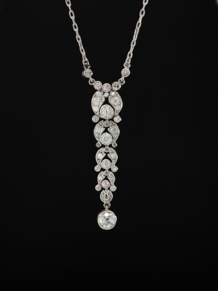 ANTIQUE ART DECO RARE GORGEOUS SENSUAL DIAMOND PLATINUM NECKLACE PENDANT
