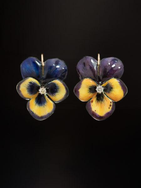 ANTIQUE ART NOUVEAU AMAZING DIAMOND AND POLYCHROME ENAMEL PANSY HUGE EARRINGS