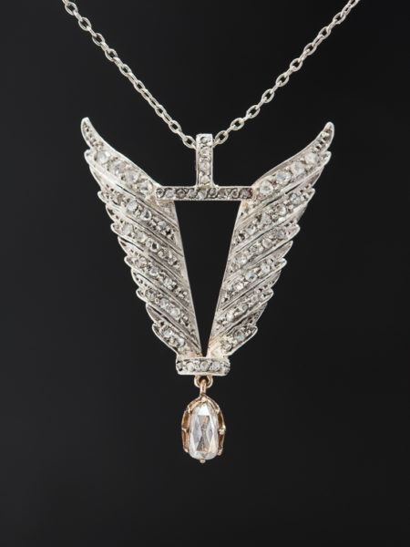 ANTIQUE EDWARDIAN DIAMOND ROMANTIC WINGS PENDANT