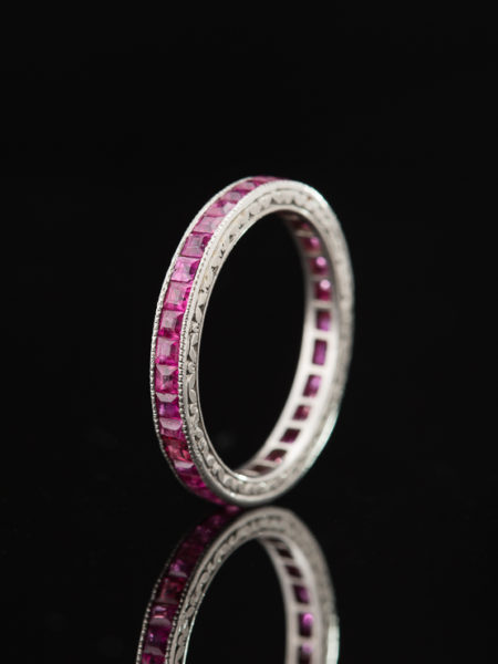 ART DECO 2.16 Ct NATURAL RUBY ETERNITY PLATINUM RING