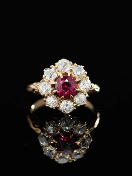 RARE ANTIQUE VICTORIAN TIMELESS NATURAL RUBY AND DIAMOND CLUSTER HALO RING