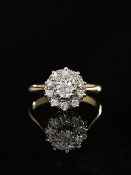 VINTAGE 1.09 Ct DIAMOND FLOWER HALO CLUSTER RING
