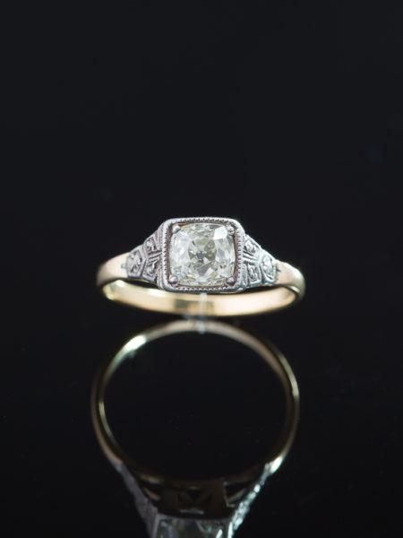 RARE ANTIQUE 1.36 Ct DIAMOND SOLITAIRE UNISEX ENGAGEMENT RING