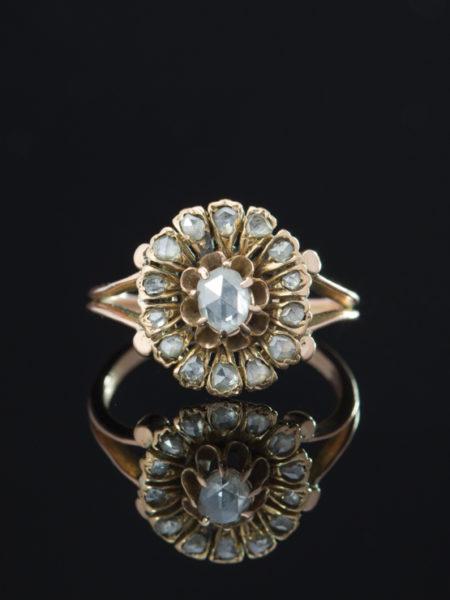 VICTORIAN ROMANTIC DIAMOND DAISY CLUSTER FLOWER HALO RING