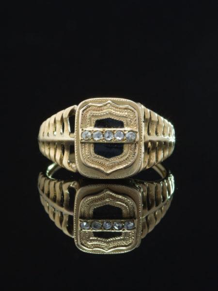 ANTIQUE RARE VICTORIAN DIAMOND AND BLACK ENAMEL RARE POISON LOCKET RING