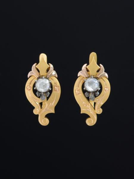 GENUINE ANTIQUE VICTORIAN DRAMATIC DIAMOND EARRINGS