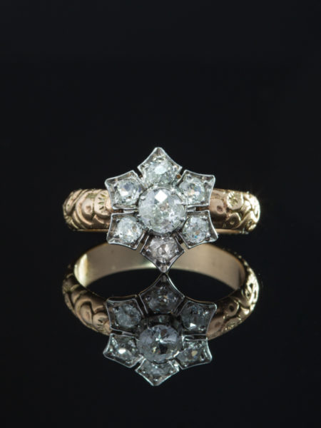 ANTIQUE VICTORIAN ROMANTIC 1.78 Ct DIAMOND CLUSTER FLOWER STAR HALO RING