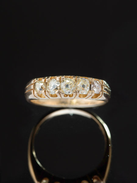 ANTIQUE VICTORIAN 1.01 Ct DIAMOND FIVE STONE LOVE RING