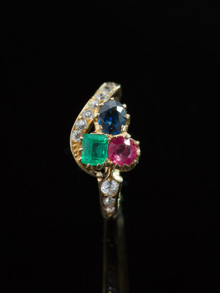 ANTIQUE EDWARDIAN AUSTRO HUNGARIAN RUBY EMERALD SAPPHIRE AND DIAMOND RING