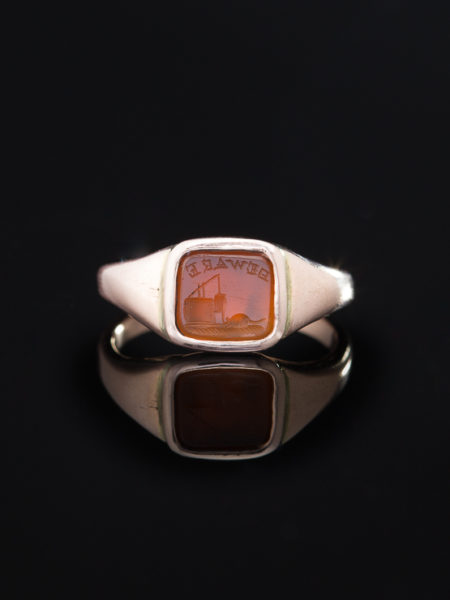 RARE VICTORIAN CARNELIAN MYSTERIOUS MESSAGE INTAGLIO SIGNET RING