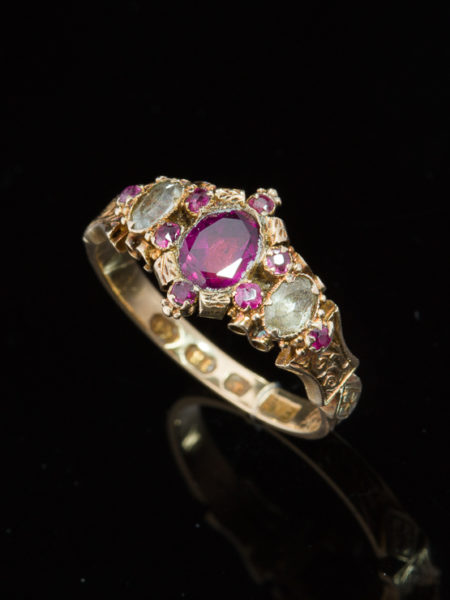 ANTIQUE VICTORIAN NATURAL GARNET CHRYSOBERYL AND RUBY ROMANTIC RING