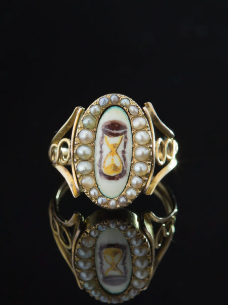 Antique Georgian Natural Pearl Memento Locket Swivel Ring