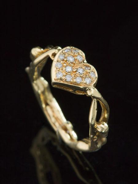 LATE ART DECO UNIQUE DIAMOND HEART AND WOMAN SILHOUETTE LOVE RARE RING