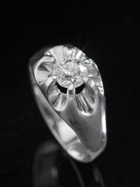 Vintage Diamond Solitaire Belcher Setting Ring