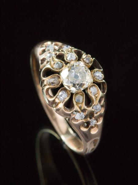 Antique Victorian 1.52 Ct Diamond Flower Cluster Ring