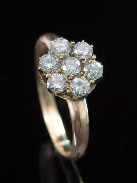 Vintage 1.45 Ct Diamond Cluster Daisy Ring