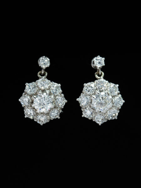Vintage Amazing 3.29 ct Diamond And Platinum Cluster Flower Earrings