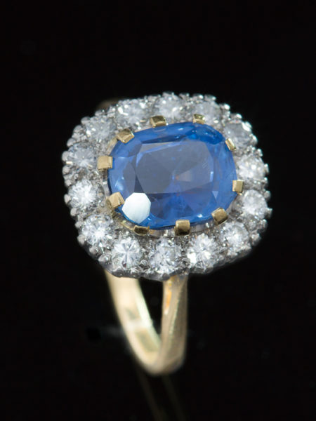 Vintage Natural 2.78 Ct Ceylon Sapphire And 1.00 Ct Diamond Halo Cluster Ring