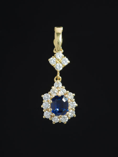 Vintage Natural Sapphire And Diamond Pendant