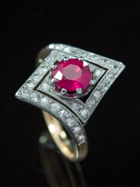 Antique Art Deco French No Heat Natural Pigeon Blood Ruby And Diamond Cluster Ring