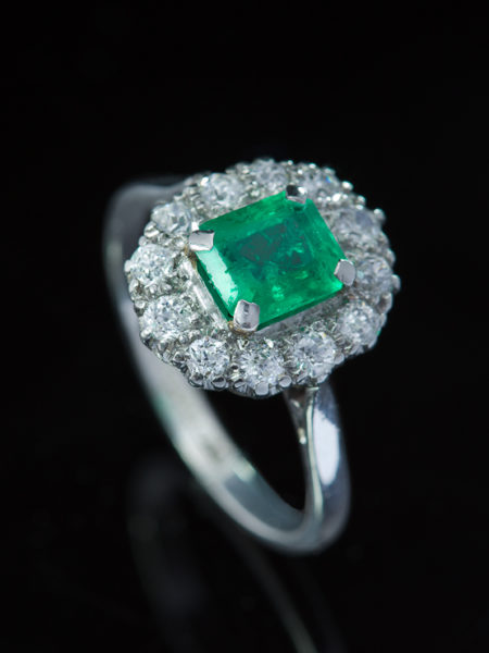 Out for exhibition | Vintage Natural Emerald And Diamond Halo Cluster Ring