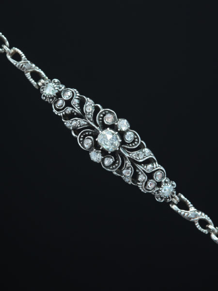 Vintage Georgian Style 1.65 Ct Diamond Flower Daisy Nature Motif Bracelet