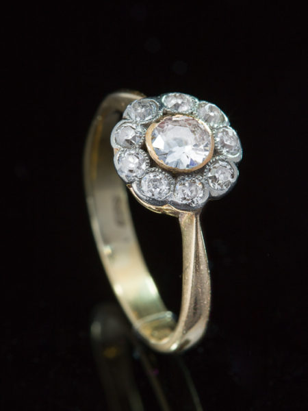 Out for exhibition | Antique Edwardian Diamond Romantic Flower Halo Cluster Ring