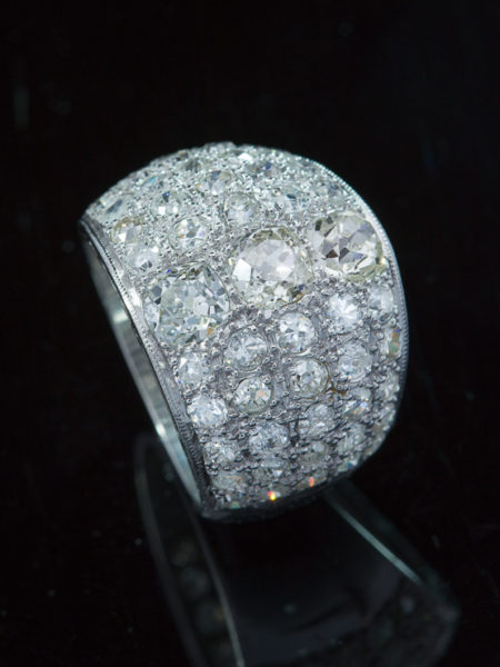 Out for exhibition | Vintage Stunning 4.12 Ct Diamond Wide Band Three Stone Ring