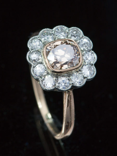 Out for exhibition | Art Deco Natural Fancy Diamond Halo Cluster Ring