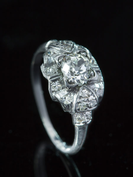 Out for exhibition | Art Deco 1.37 Ct Diamond Solitaire Design Platinum Ring